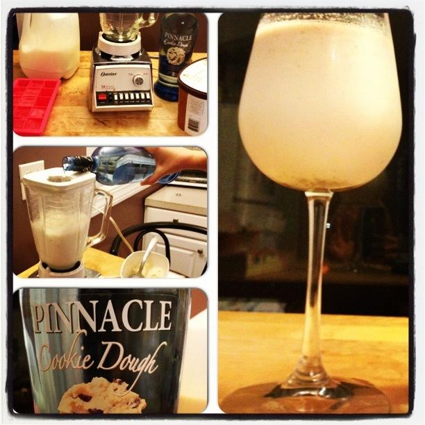 Pinnacle chocolate chip cookie dough vodka milkshake!!! Ice, milk, ice cream, and pinnacle vodka. Magic.