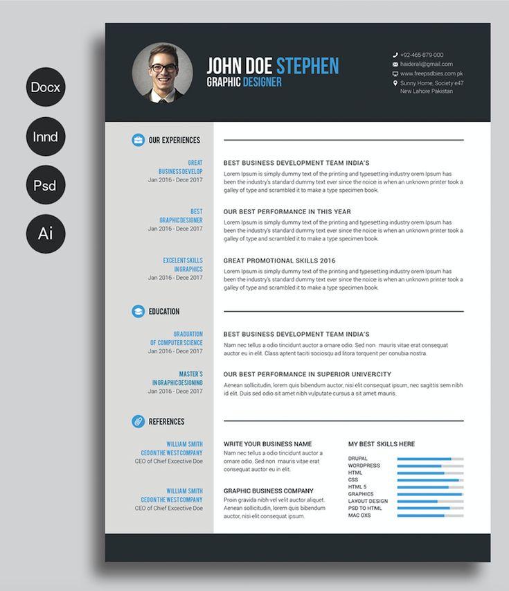 Free Cv Resume Psd Templates Graphic Design Free 40 Best Free Resume Templates 2017 Psd Ai Doc Free