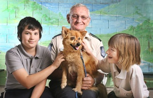 RSPCA's Laurie Stageman and mascot Maddie with Fernvale State School students Serge Garcia and Monica Ogg. Image: Rob Williams/The Queensland Times.