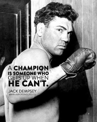 "Best #sports #quotes for #personalized #gifts: Jack Dempsey quote: ""A champion is someone who gets up when he can't."" www.thestyleref.com"