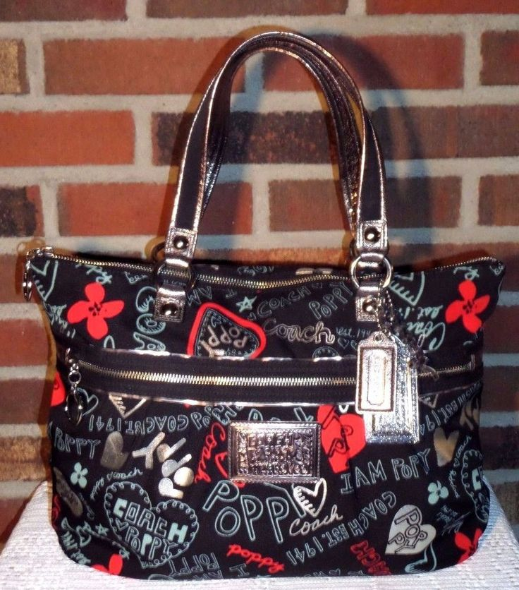 Coach Poppy C Graffiti Glam Tote Large Shoulder Bag Hearts Black Silver 16052   #Coach #TotesShoppers
