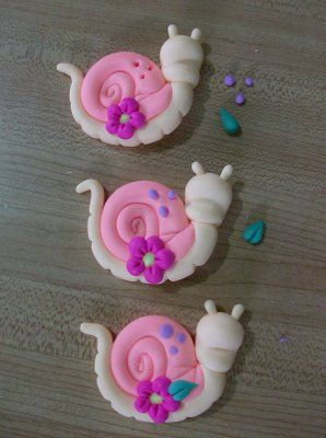 Snails and flowers in cold porcelain. Part II