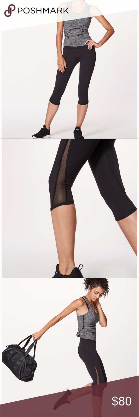 """NWT Lululemon Train Times 17"""" Crop Brand spankin new. Just ordered online and realized I ordered the wrong size for a gift.  Tags still on, never tried on. Just want back what I paid for them! (Price firm, taking a hit on what I paid for posh fees. )  Have original photos by request lululemon athletica Pants Ankle & Cropped"""