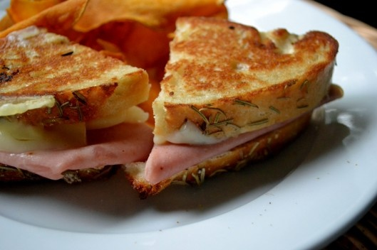 Ham and Cheese Sandwich on Crusty Rosemary Focaccia