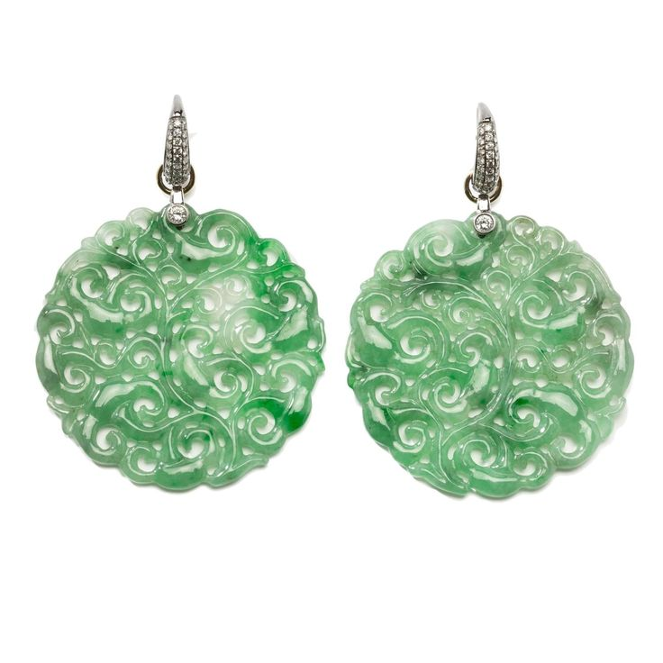 Carved Jade Diamond Gold Earrings | From a unique collection of vintage dangle earrings at https://www.1stdibs.com/jewelry/earrings/dangle-earrings/