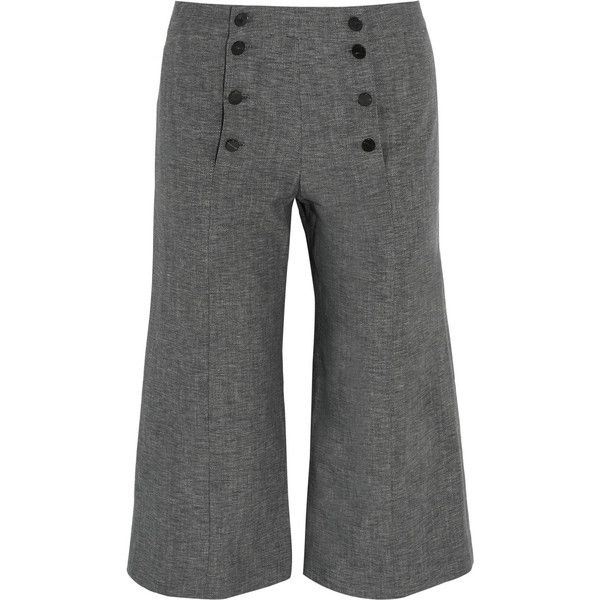 J.W.Anderson Denim culottes ($340) ❤ liked on Polyvore featuring pants, capris, high-waisted pants, grey denim pants, j.w. anderson, highwaisted pants and grey high waisted pants