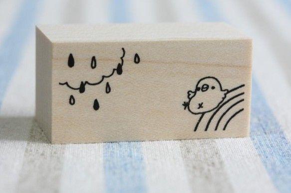 オリジナルのスタンプです。文鳥と虹と雨の飾りのイラストです。中に一言書き込めます。 サイズ 横40×奥20×高さ24(mm) ※一般...|ハンドメイド、手作り、手仕事品の通販・販売・購入ならCreema。