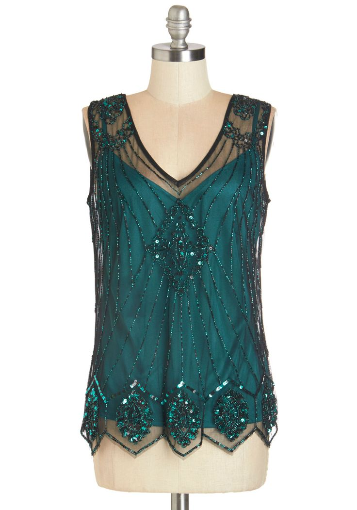 Sequin of Light Top. Grace any occasion wearing this beaded top and admiring eyes will be drawn to its glittering design. #green #modcloth