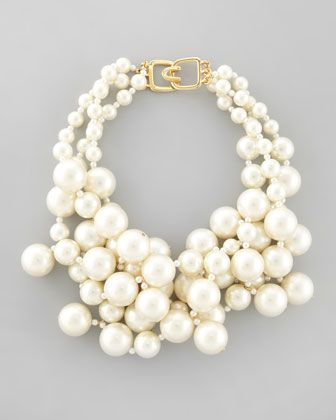 Simulated Pearl Cluster Necklace by Kenneth Jay Lane at Neiman Marcus.