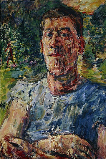 """""""Self-Portrait as a Degenerate Artist"""" Eight of Kokschka's paintings were included in the exhibition of Degenerate 'Art' organised by the Nazis to pour scorn on modern art. The artist altered the position of his arms in this painting, to make them defiantly crossed, in response his inclusion in the exhibition."""