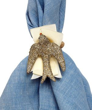 Sparkle Dove Napkin Rings - Set of 4 transitional napkin rings