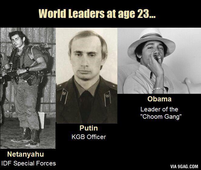 World leaders at age 23, Obama al servicio de las multinacionales, Putin se ha convertido en pacifista y Netanyahu... bueno, ese no ha cambiado nada