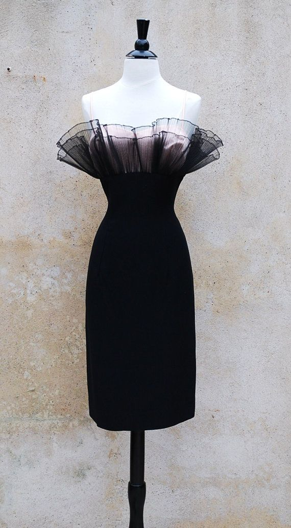 50s black wiggle cocktail dress