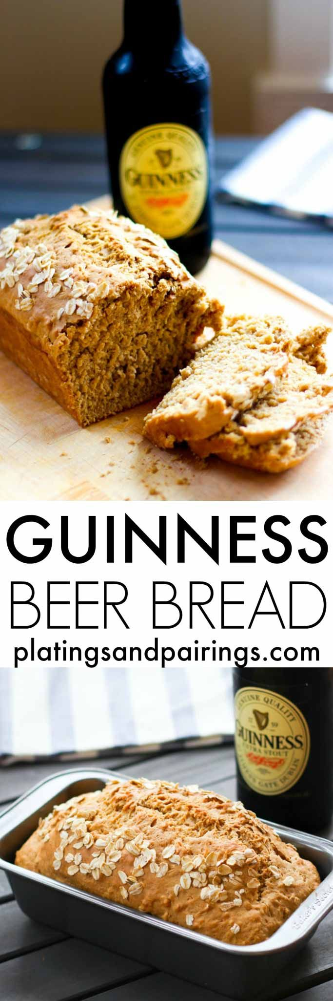 Guinness Beer Bread - Easy to make with no rising time. | platingsandpairings.com Come and see our new website at bakedcomfortfood.com!
