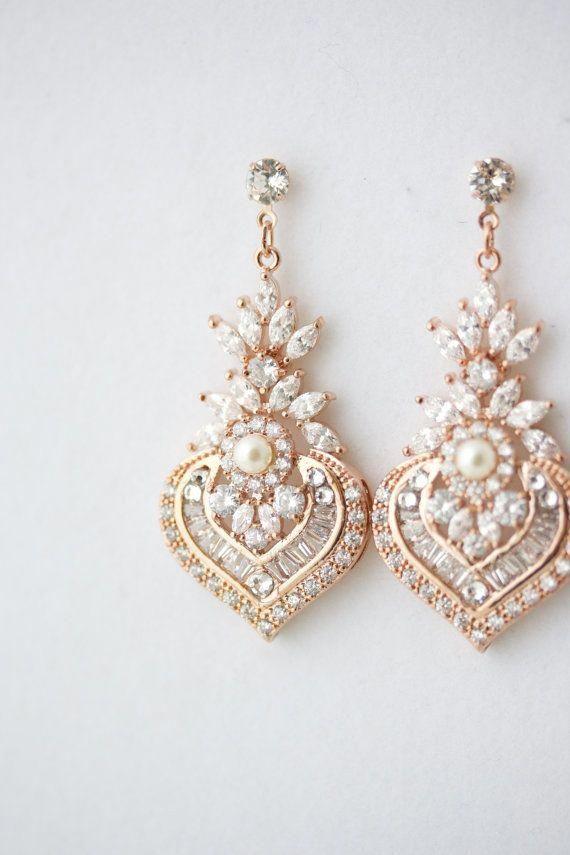 Rose Gold Earrings Bridal Crystal Pearl Wedding Vintage Jewelry Evie Drop Weddingaccessories