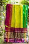 Lime yellow pochampally pure silk with ganga jamuna tissue border