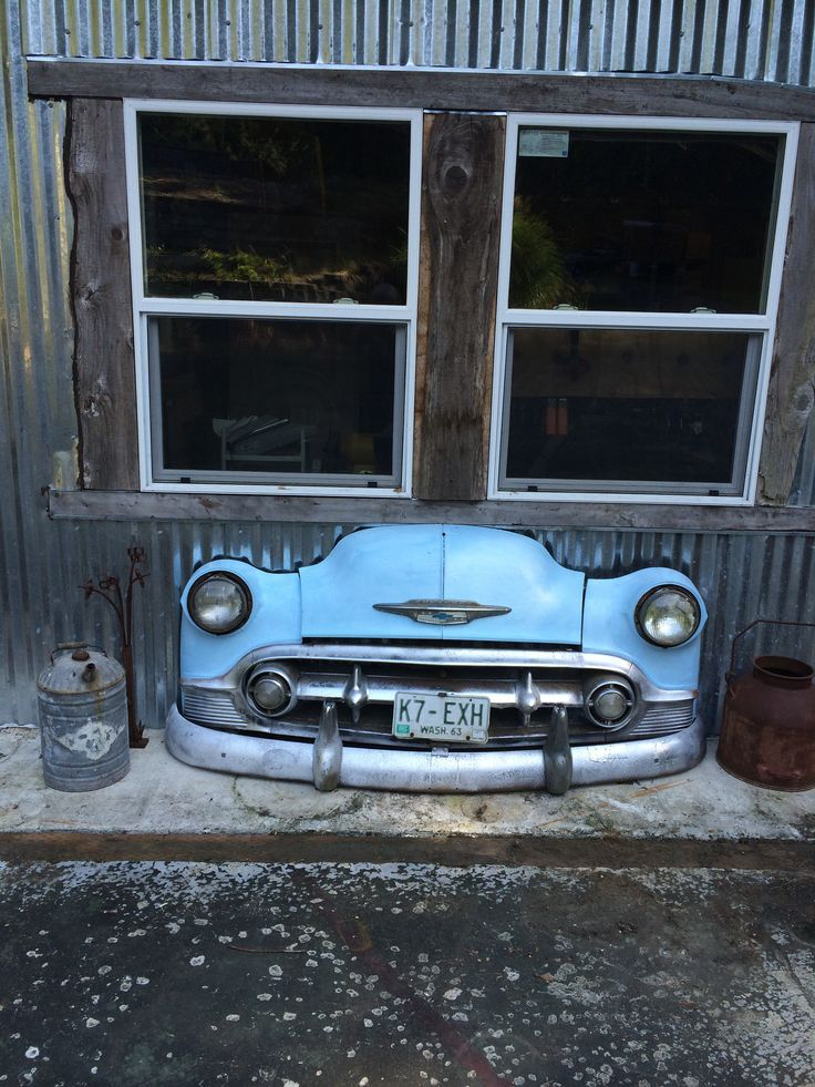 Image result for old car door for sale, at dad's old car parts, The front end of my dad's first car. I cut it off and attached it to the front of my workshop.
