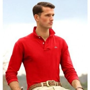 Men Polo Shirt Long Sleeve, Red