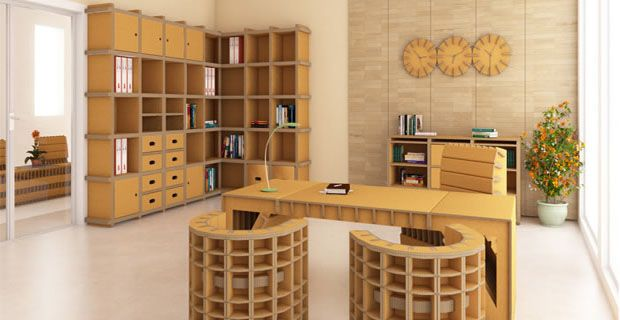 A whole room furnished with cardboard recycled boxes!