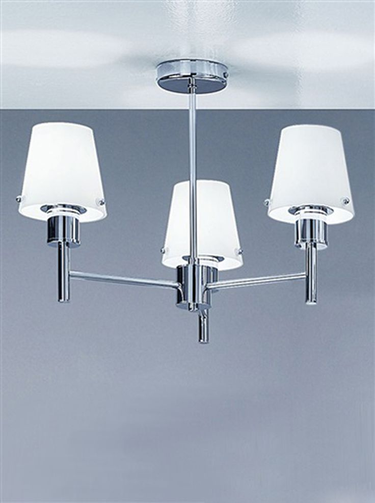 Franklite 'Turin' 3 Light, Chrome Finish & Opal Glass Shades, Ceiling Fitting - FL2059/3 None