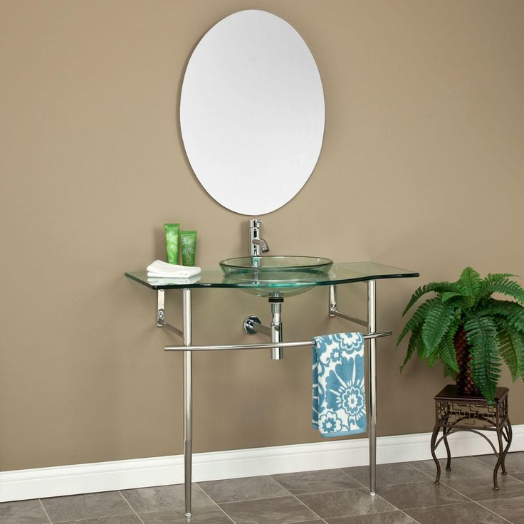 larwill glass console vanity with sink and mirror
