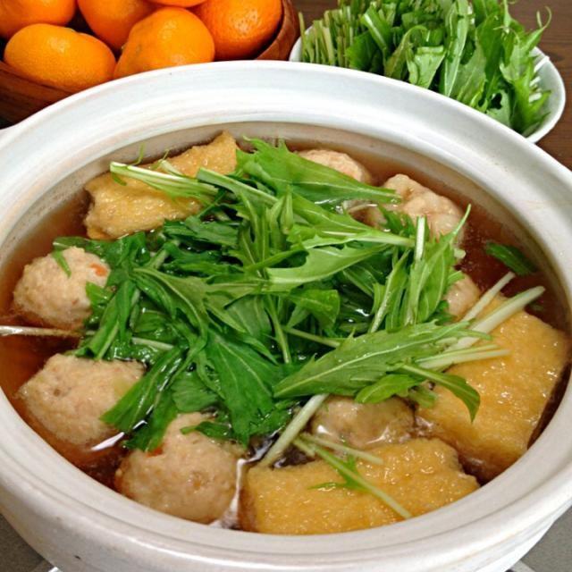 食べても食べてもまだ食べたいwヘルシーお鍋です。おろしやねぎもたっぷりご一緒に☆ - 148件のもぐもぐ - はりはり鍋(きつね鍋)です。お肉や揚げはダシwしゃきしゃき水菜メインでたっぷりと☆ by yumyumy1