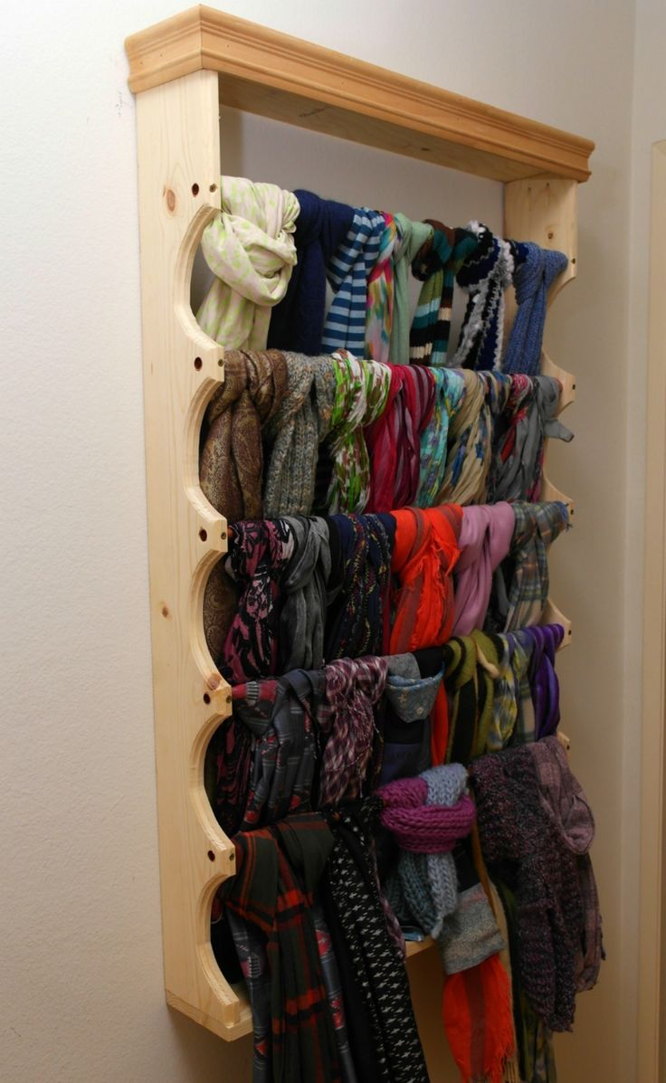 I built this scarf rack for Zoe and it turned her collection into wall art.