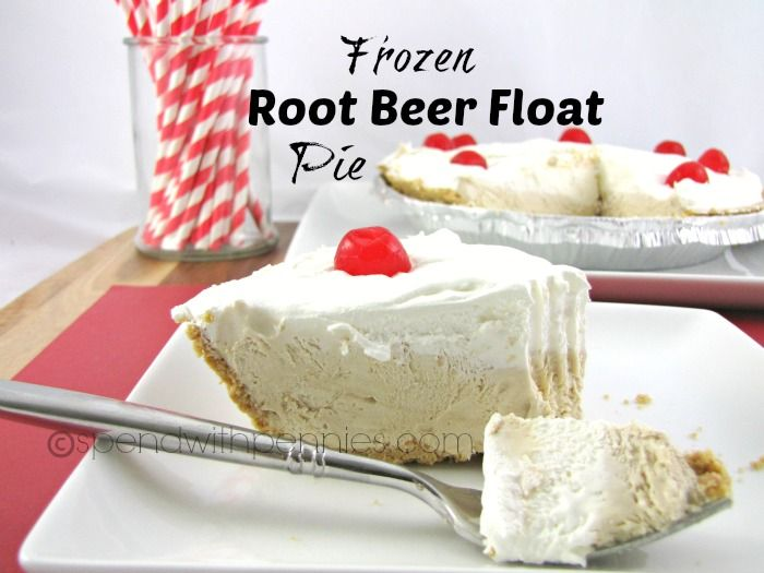 Frozen Root Beer Float Pie Recipe ~ Says: This is a super easy and yummy dessert that takes just a few minutes to put together the night before and it always a HUGE hit!