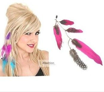 1pc Beauty Feather Clip in hair extensions mix 3 color quick wear pieces synthetic hair extension straight Free Shipping