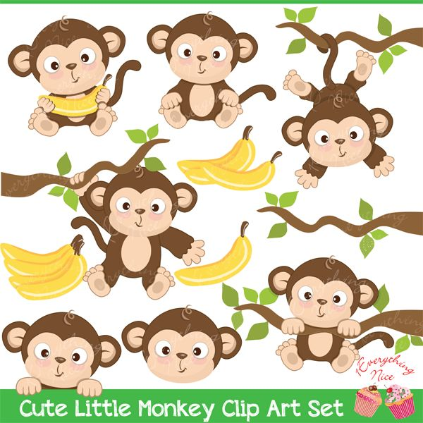 Decorate any art project with this Cute Little Monkey Clipart Set, also perfect…