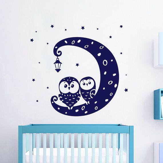 Gufo in vinile decalcomanie mese Decal parete Star Lanterna Boy Cirl vivaio camera da letto Sticker Playroom Home Decor arte murales MN398