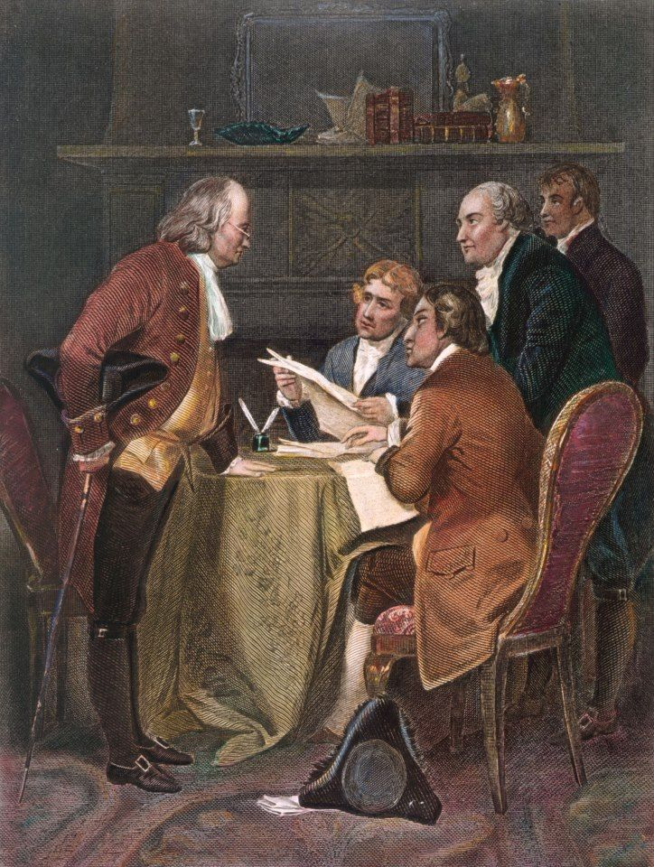 via the Jefferson Institute ---   The Declaration of Independence committee, depicted in a 19-th century steel engraving. The members were (from left to right) Benjamin Franklin, Thomas Jefferson, Robert R. Livingston, John Adams and Roger Sherman