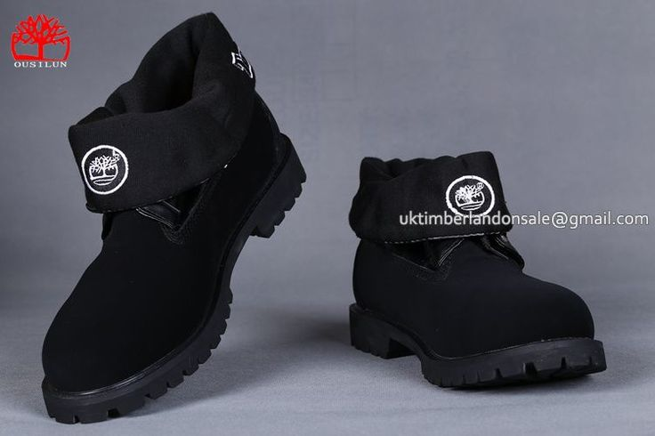 Mens Timberland Roll Top Waterproof Boots Black And White Logo $77.00