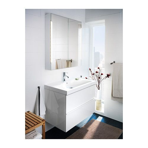 GODMORGON EDEBOVIKEN Sink Cabinet With 2 Drawers High Gloss White Mirror