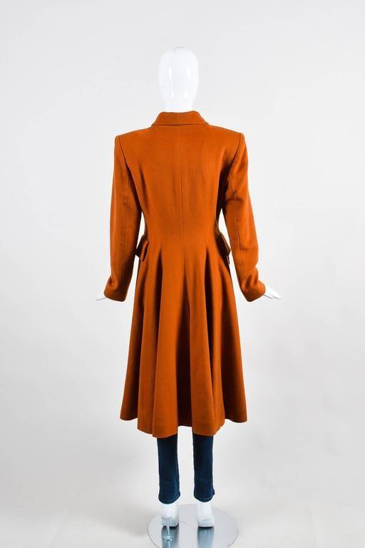 Vintage Hermes Burnt Orange Cashmere Flared Long Overcoat Size 36 3