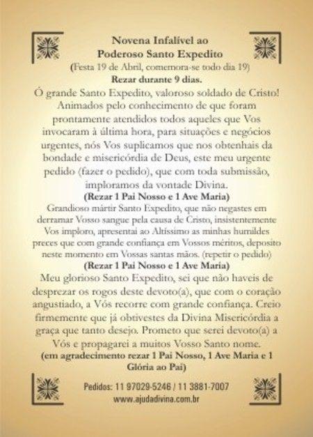 Novena Santo Expedito orações em papel santinhos para promessa - Santinhos Ajuda Divina #santoexpedito; #novenadesantoexpedito; #santinhossantoexpedito