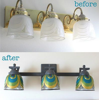 Quick and easy update to boring light fixtures.