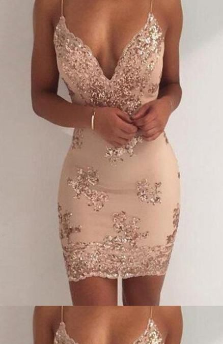 26+ Trendy Party Dress Short Clubwear Gold