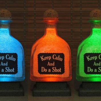 """Patron Tequila 750 ml Bottle """"Keep calm and do a shot"""" Remote Controlled 16 Color Changing LED Bottle Lamp  Bar Light Liquor Bottle Lamp"""