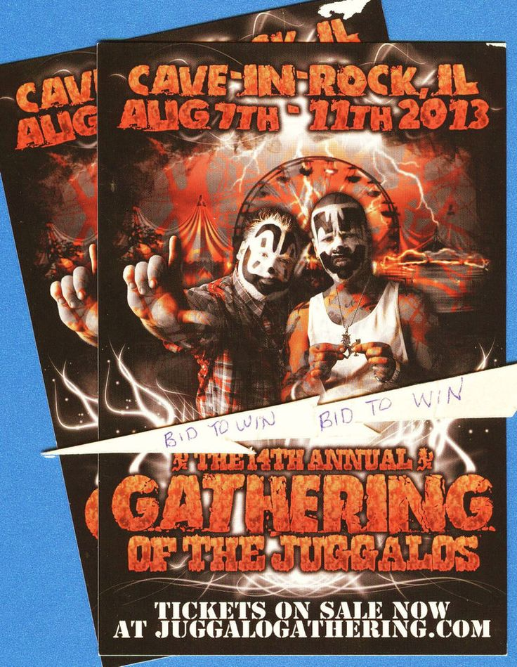 INSANE CLOWN POSSE in Concert Set of 2 Show Promo Cards JUGGALOS Gathering COOL