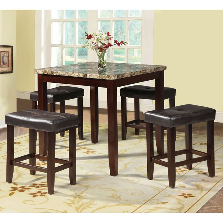 Acme Furniture Rolle 5 Piece Counter Height Faux Marble Dining Table Set - 71090