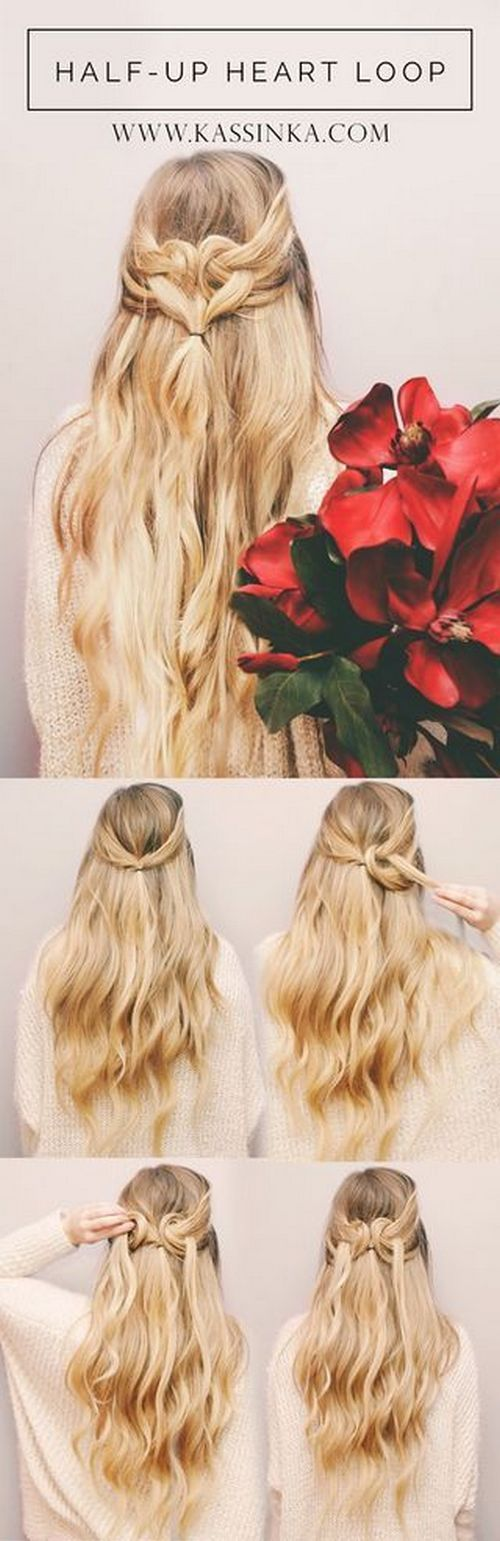 Heart Shape Hair Tutorial (Kassinka) / http://www.himisspuff.com/easy-diy-braided-hairstyles-tutorials/76/: