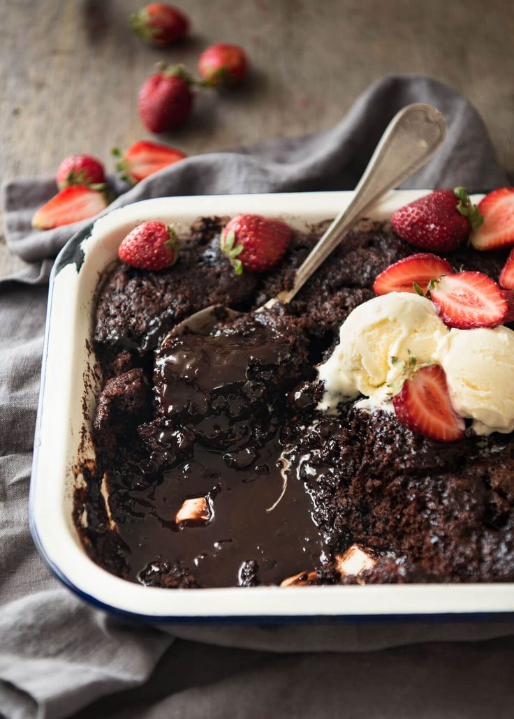 Chocolate Self Saucing Pudding with a warm, moist chocolate cake and a beautiful silky chocolate sauce, all baked in one pan! Easy and fast.