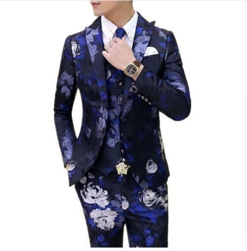 2017 Fashion 3 Pcs Wedding Dress Men Italian Suit Floral Blazer Slim Fit Suit