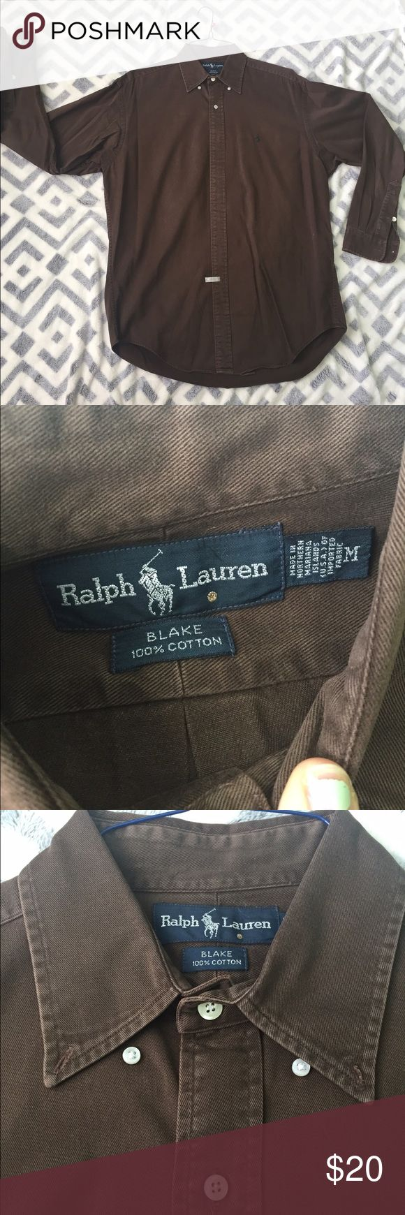 Brown polo dress shirt Polo dress shirt! Button up, collar buttons down. Great condition, just dry cleaned Polo by Ralph Lauren Shirts Dress Shirts