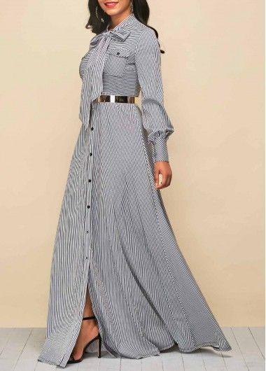 Tie Neck Stripe Print Button Up Maxi Dress   Rosewe.com - USD $36.20