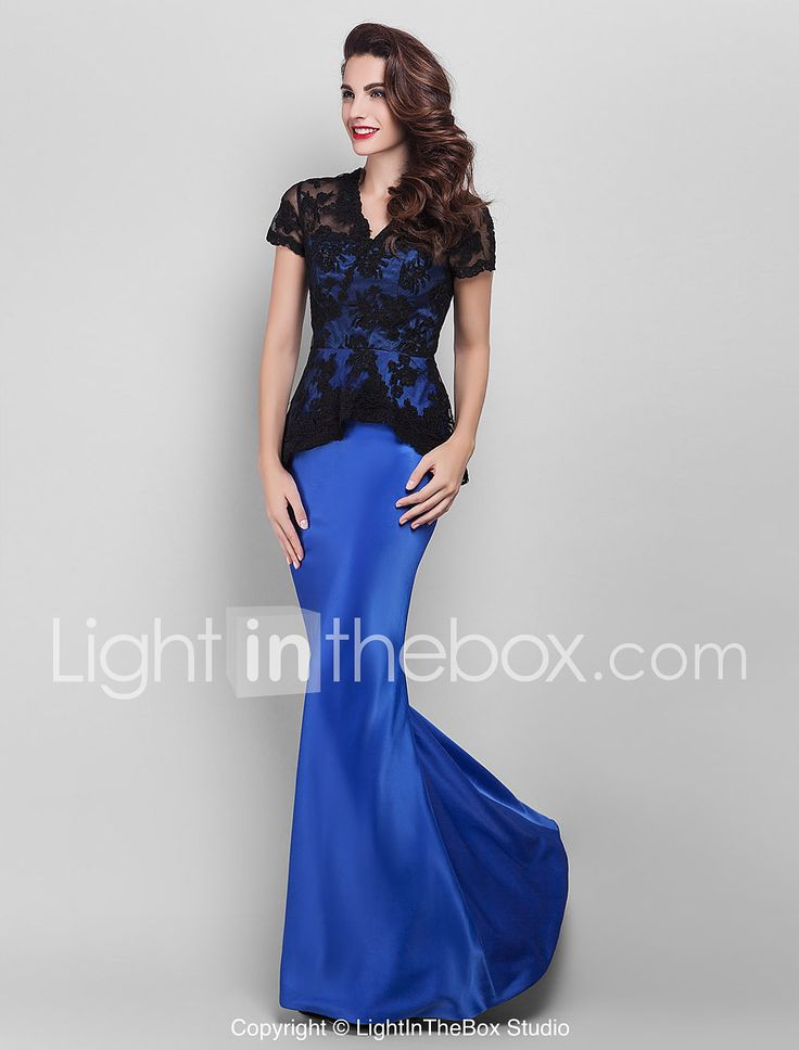 Mermaid / Trumpet V-neck Floor Length Lace Satin Prom Formal Evening Military Ball Dress with Appliques Lace by TS Couture® 1911914 2017 – $79.99