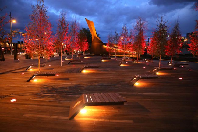 The Calgary Solider's Memorial Poppy Plaza. Located at Memorial Drive and 10 Street NW, Calgary, Alberta. Wood Supplied by Kayu Canada Inc. #yyc