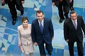 Los Reyes Don Felipe y Doña Letizia junto al Gobernador de Puerto Rico, Alejandro Javier García Padilla, en la inauguración en San Juan, Puerto Rico del VII Congreso Internacional de la Lengua Española. 15.03.2016
