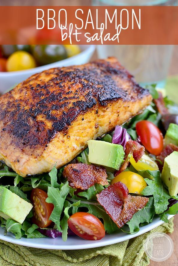 Gluten-free BBQ Salmon BLT Salad has a homemade smoky-sweet salmon rub and is ready in 30 minutes! | iowagirleats.com